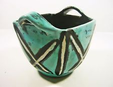 "GORKA LIVIA, TURQUOISE RETRO POT WITH HANDLES 6.2"", 1950'S ART POTTERY !"