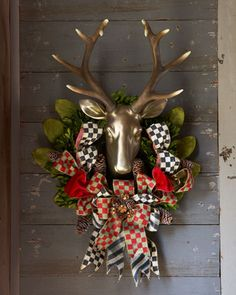 Orchard Check Stag Wreath by MacKenzie-Childs at Horchow.