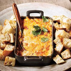 Baked Tex-Mex Pimiento Cheese Dip Recipe Appetizers with mayonnaise, roasted red peppers, green onions, jalapeno chilies, extra sharp cheddar cheese, pepper jack, cilantro leaves, cubed bread