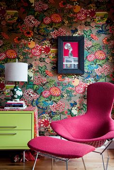 Shawn Colvin's bedroom with the chiang mai dragon in mocha; I'm doing my dining room in the aqua color-way. The wallpaper's a splurge; but I'm getting all my furniture from fleas and estate sales.