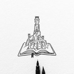 Commissioned design for thank you! This Barad-dûr is going to be a super cool enamel pin soon! Ill keep y Tattoo Sketches, Tattoo Drawings, Lotr Tattoo, Tolkien Tattoo, Barad Dur, Lord Of The Rings Tattoo, O Hobbit, Harry Potter Drawings, Ink Illustrations