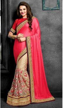 Pink Color Chiffon and Net Designer Style Sarees | FH475873611 #heenastyle , #saree , #sari , #wedding , #boutique , #blouse , #fashion , #style , #designer , #sarees , #saris , @heenastyle