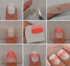 How to do ombre nail art at home step by step. DIY ombre nails with a cool heart-shaped element.