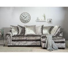 Marilyn Crushed Velvet Corner Sofa - Silver (Grey) - Right Hand Facing
