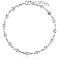 "BERRICLE Sterling Silver CZ by Yard Fashion Chain Bracelet 7.5"""" found on Polyvore featuring jewelry, bracelets, necklaces, chain bracelet, clear, sterling silver, women's accessories, sterling silver chain bracelet, zirconia bracelet and pandora bracelet"