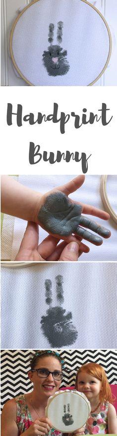 Toddler Easter Crafts | handprint bunny craft in loop frame for spring and easter