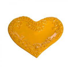 """La Vita Vera Mamma Ro 9"""" Heart Plate in Marigold - 105F-13-Marigold"""