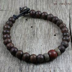 Pulsera Mens Mala, cuero, abalorios de madera Natural, estilo de oración, Yoga, Surfer, marrón, rojo, gris