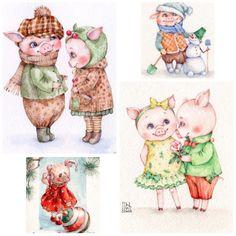 Инга Измайлова SmG открытка иллюстрация акварель свинка свинья кабан год свиньи Three Little Pigs, This Little Piggy, Pig Illustration, Illustrations, Pig Images, Teacup Pigs, Pig Art, New Year's Crafts, Year Of The Pig