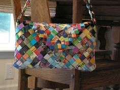 Wrapper Purses - Made completely from recycled potato chip wrappers: chip wrapper purse instructions