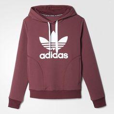 adidas Slim Trefoil Hoodie - Brown | adidas US (230 BRL) ❤ liked on Polyvore featuring tops, hoodies, sweaters, shirts, shirt hoodies, slim shirt, red top, brown hooded sweatshirt and slim fit shirts
