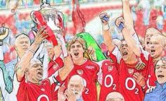 Arsenal lifting the FA Cup in 2005 wearing one of their nicest jerseys; the 2004-2005 Home Jersey made by Nike