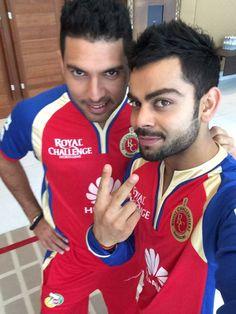 Yuvraj Singh & VK selfie after winning an IPL Match in Dubai, UAE (April 2014)!! #mydubai