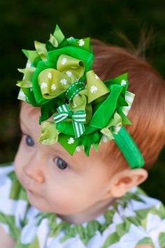 Baby St Patrick's Day Headband Baby Bow Combo Bow St by KinleyKate