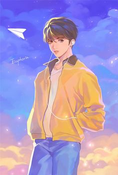 this is a drawing of Jungkook while listening to his song euphoria Jungkook Fanart, Kpop Fanart, Jungkook Lindo, Jungkook Cute, Anime Kunst, Anime Art, Jungkook Mignon, Fan Art, Chibi Bts