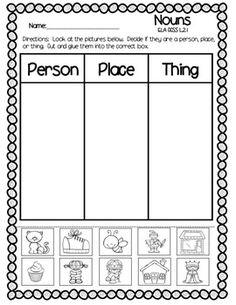 Nouns Kindergarten, Teaching Nouns, Kindergarten Homework, Teaching Reading, Learning, Teaching Resources, Nouns Worksheet, Phonics Worksheets, School Worksheets