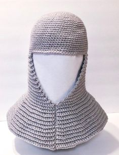Crochet a Battle-Ready Chainmail Coif Headdress For Medieval Cosplay Star Patterns, Cross Stitch Patterns, Elf Hut, Knitting Projects, Crochet Projects, Knit Crochet, Crochet Hats, Knit Hats, Halloween Gifts
