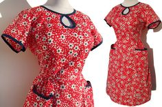 Vintage 50s Swirl Wrap Dress Red White Blue by MetroRetroVintage