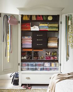 If the ceiling is high, install shelves above the rods to store items you don't use every day, such as hats, gloves, and other off-season clothing. Walls and the backs of closet doors can support hooks, peg-board (to which you can secure any number of hooks), mirrors, and even bulletin boards for messages and mementos.