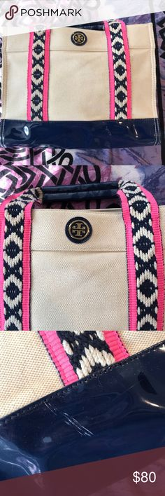 Tory Burch bag SUPER cute Tory Burch bag! Perfect for summertime. Lightly used- has some light markings. Bottom is a navy blue color. Very spacious!    Everything in my closet is priced very reasonably so please no offers, unless bundling! Please comment with any questions you may have. I believe fashion should be recycled, reloved & rebought! Happy Poshing! ❤️ Tory Burch Bags