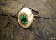 Deer antler ring with malachite gemstone  by UrdHandicrafts, $25.00