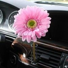 Pink Daisy Flower Auto Vase www.CarDecor.com