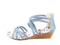 New Women's Low Heel Wedge Shoes Zip Sandals Open Peep Toe Blue