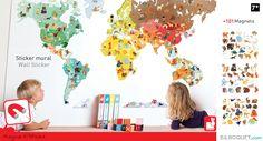 Magneti'Stick Le monde Sticker Mural Magnétique Janod - Décoration murale - Chambre d'enfant et décoration