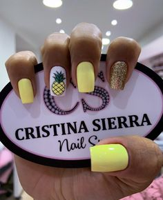 Pink Acrylic Nails, Yellow Nails, Teen Nails, My Nails, Nail Spa, Nail Manicure, Semi Permanente, Kawaii Nails, Fire Nails