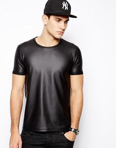 ASOS | ASOS T-Shirt With Leather Look Coating at ASOS