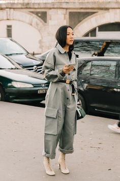 A casualwear staple, this season the jumpsuit is has taken a miltary trajectory, whether oversized, in green camouflage or denim. Take a look at our favorites seen outside the runways during Fashion Week Fall/Winter 2019-2020.