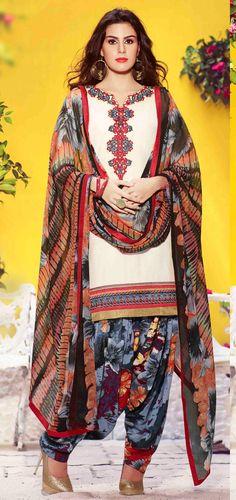 USD 28.16 White Cotton Punjabi Suit 55910
