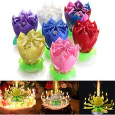 Buy 7 colors Beautiful Blossom Lotus Flower Candle Birthday Party Cake Music Sparkle Cake Topper Rotating Candles Decoration at Wish - Shopping Made Fun Lotus Birthday Candle, Birthday Candles, Sparkle Cake, Cheap Candles, Candle Branding, Romantic Candles, Happy Birthday Parties, Surprise Birthday, Birthday Ideas