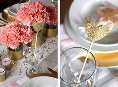 Table centerpiece: glitter accents, circular vases