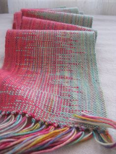 Malabrigo Lace & Ella Rae Sock weaving project by myfinn, via Flickr Clasp weft technique on duoble rigid heddle