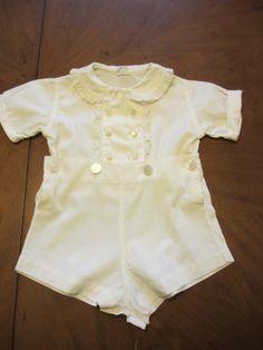 Vintage Baby Boy Romper - Ivory Cotton Size 1.