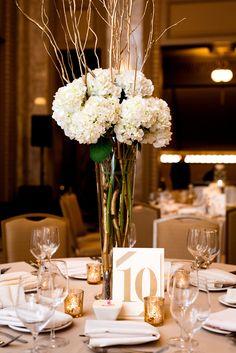 Beautiful hydrangeas for centerpieces. View the full wedding here: http://thedailywedding.com/2016/06/26/golden-glam-wedding-kat-stu/
