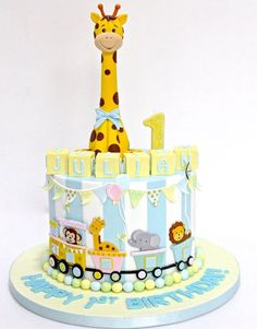 Celebrate with Cake Safari Birthday Cakes, Safari Cakes, 1st Birthday Cakes, Baby Boy Cakes, Baby Shower Cakes, Carnival Cakes, Giraffe Cakes, Jungle Cake, Balloon Cake