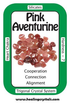 "Pink Aventurine, ""I am free to choose any of the paths that my life offers.""  Meditating with Pink Aventurine can aid in balancing the subtle bodies and reinforcing the flow of energy through them. Physically, Pink Aventurine can help with health issues involving circulation, blood and the immune system.  Code HCPIN10 = 10% off  http://www.healingcrystals.com/advanced_search_result.php?dropdown=Search+Products...&keywords=pink+av"
