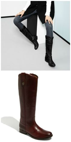 Oh those boots! Trying to choose between black and brown Frye 'Melissa Button' boots for fall.