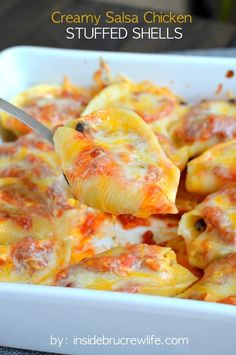 Creamy Salsa Chicken Stuffed Shells-Creamy Salsa Chicken Stuffed Shells - a creamy chicken and salsa mixture is delicious inside pasta shells covered in melted cheese