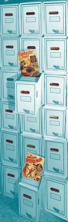 "Comic Book ""Shelves"" http://www.captainbluehen.com/wp-content/stackedboxes.gif"