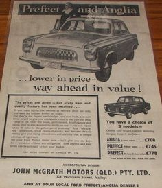 1956 Ford Prefect & Anglia Ad by Five Starr Photos ( Aussiefordadverts), via Flickr