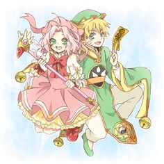 Haruno Sakura and Uzumaki Naruto. Naruto x Cardcaptor Sakura