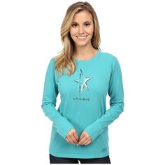 Life is good Crusher L/S Tee Women's Long Sleeve Pullover ($28) ❤ liked on Polyvore featuring tops, t-shirts, life is good t shirts, vintage graphic tees, cotton tee, long sleeve graphic t shirts and long sleeve cotton tees