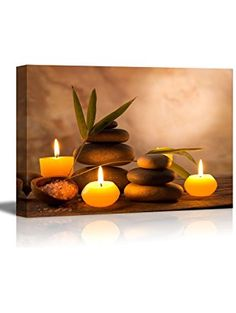 wall26 16x24-Inch Aromatic Candles and Zen Stones Canvas Wrap Giclee Print Wall Art ❤ ...