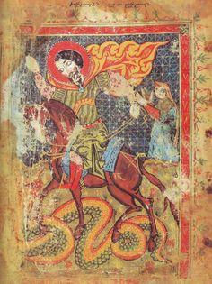 St. George, Armenian Manuscripts 14th century.