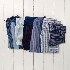 Ace and Jig blues! From left: Boro, Railroad, Midnight, Denim, Argyle, Pacifico