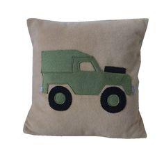 landrover Land rover cushion khaki fleece applique by MinXtures