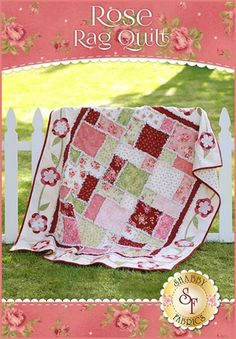 "Flannel Rose Rag Quilt Kit Pre-fused laser-cut applique flowers surround the soft, fluffy ragging on this lovely flannel quilt. This lap-size quilt finishes to approximately 55"" x 67"". The best part is it's fast and simple, so you'll be cuddled underneath your very own plush quilt in no time!shab"